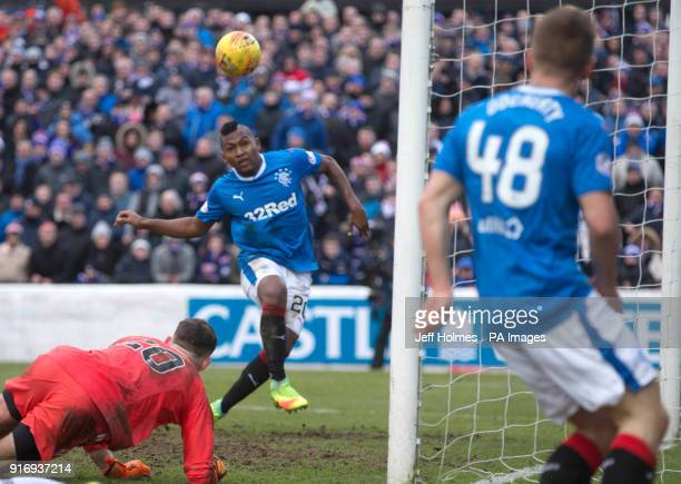 Rangers' Alfredo Morelos misses a chance to score during the William Hill Scottish Cup fifth round match at Somerset Park Ayr