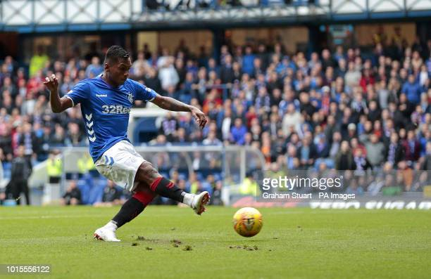 Rangers' Alfredo Morelos scores his side's first goal of the game during the Scottish Premiership match at Ibrox Glasgow