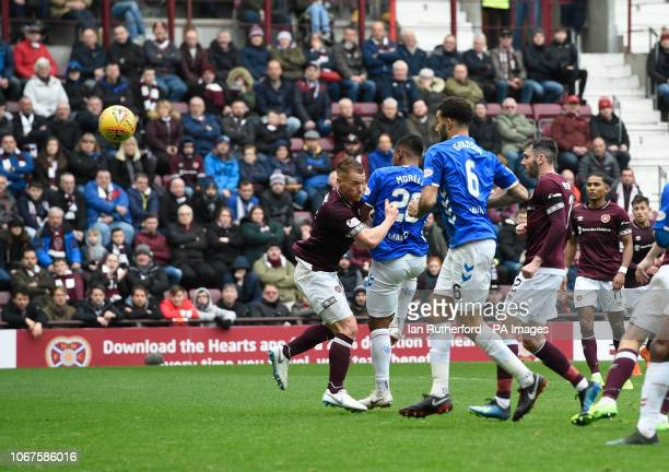 Rangers Alfredo Morelos scores the second Rangers goal as he is challenged by Hearts Oliver Bozanic during the Ladbrokes Scottish Premiership match...