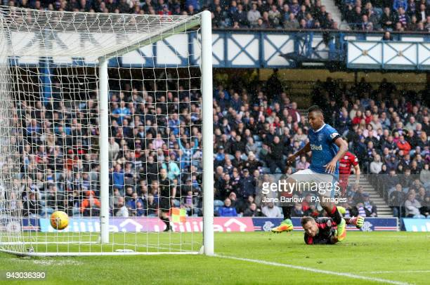 Rangers' Alfredo Morelos scoring his sides second goal during the Ladbrokes Scottish Premiership match at the Ibrox Stadium Glasgow