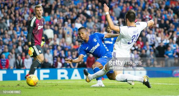 Rangers Alfredo Morelos see's his attempt on goal ruled out during the UEFA Europa League third qualifying round first leg match at Ibrox Glasgow