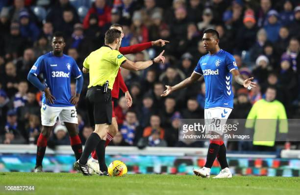 Rangers Alfredo Morelos with referee Steven McLean during the Ladbrokes Scottish Premiership match at Ibrox Stadium Glasgow