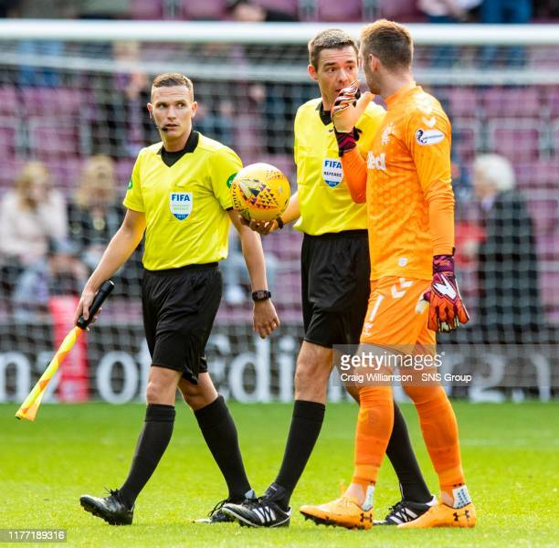Rangers' Allan McGregor exchanges words with referee Kevin Clancy during the Ladbrokes Premiership match between Heart of Midlothian and Rangers at...