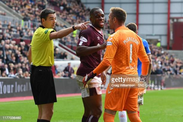 Rangers' Allan McGregor shows his frustration after he is booked by Kevin Clancy during the Ladbrokes Premiership match between Heart of Midlothian...