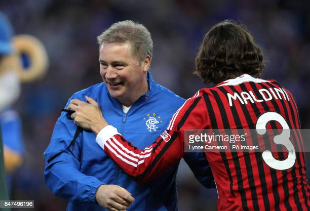 Ranger's Ally McCoist and AC Milan's Paolo Maldini before during the Legends match at Ibrox Stadium Glasgow