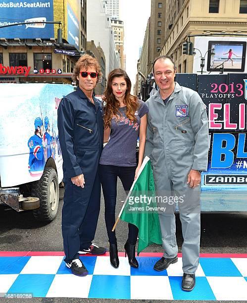 Rangers Alumni Ron Duguay Stephane Matteau and model Alejandra Cata attend the 2013 New York Rangers Zamboni Challenge at Madison Square Garden on...