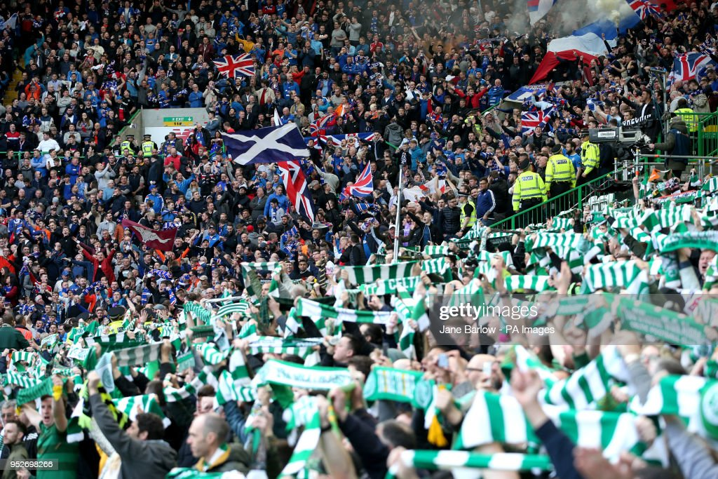 Rangers and Celtic fans during the Ladbrokes Scottish Premiership match at Celtic Park, Glasgow.