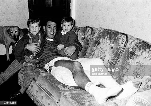 Rangers and England defender Terry Butcher at home with his sons Christopher and Edward after breaking his left leg in the match against Aberdeen...