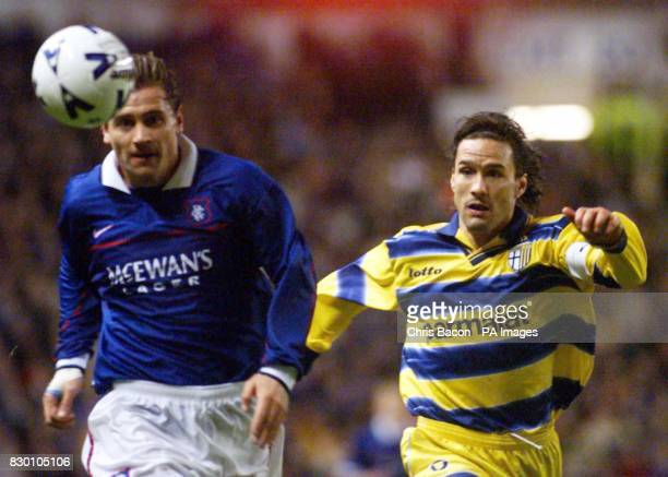Ranger's Andrei Kanchelskis and Louis Sartor of Parma AC chase after the ball during the UEFA Cup Third round first leg at Ibrox tonight *EDI* Photo...