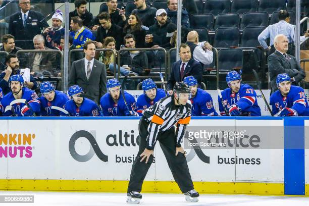 Rangers bench and coaching staff during the Dallas Stars and New York Rangers NHL game on December 11 at Madison Square Garden in New York NY