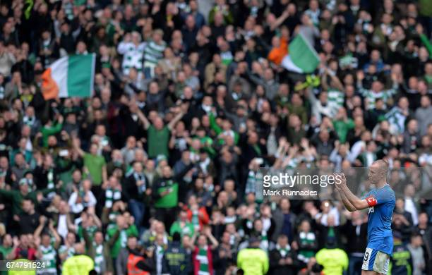 Rangers Captain Kenny Miller walks from the pitch at the final whistle after his team where beaten 51 by Celtic during the Ladbrokes Scottish...
