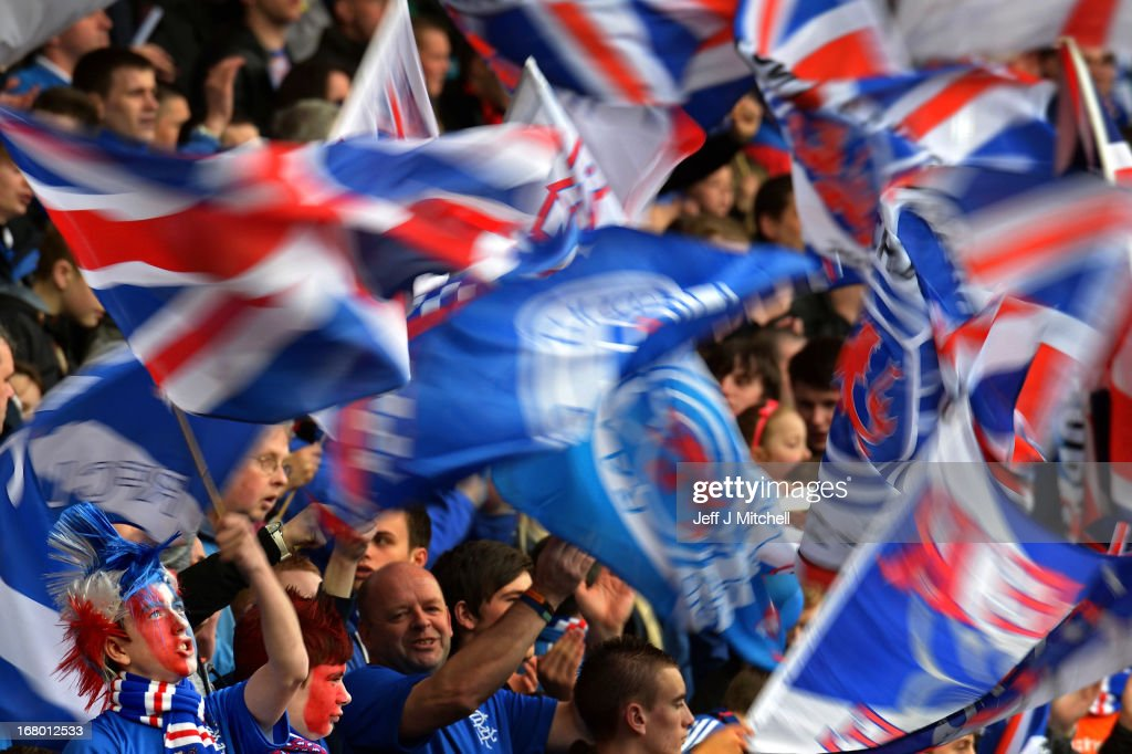 Rangers celebrate during the IRN-BRU Scottish Third Division match between Rangers and Berwick Rangers at Ibrox Stadium on May 4, 2013 in Glasgow, Scotland.