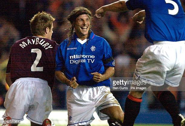 Rangers' Claudio Caniggia celebrates his goal during the Bank of Scotland Scottish Premier League match at Ibrox Glasgow