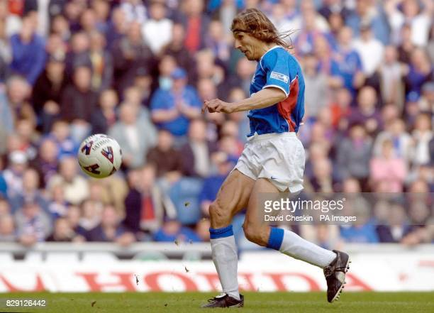 Rangers' Claudio Caniggia scores the second goal during the Bank of Scotland Scottish Premier League match at Ibrox Stadium Glasgow