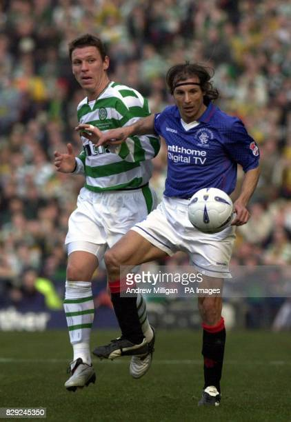 Rangers' Claudio Caniggia tussles for the ball with Celtic's Alan Thompson during the CIS Insurance Cup final match at Hampden Park Glasgow Rangers...