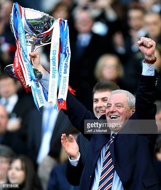 Rangers coach Walter Smith lifts the CIS Insurance Cup after beating St Mirren 10 in the final at Hampden Park on March 21 2010 in Glasgow Scotland