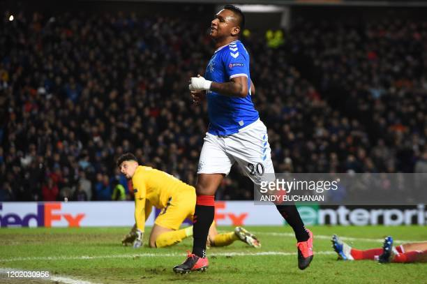 Rangers' Colombian striker Alfredo Morelos reacts after failing to score during the UEFA Europa League round of 32 first leg football match between...