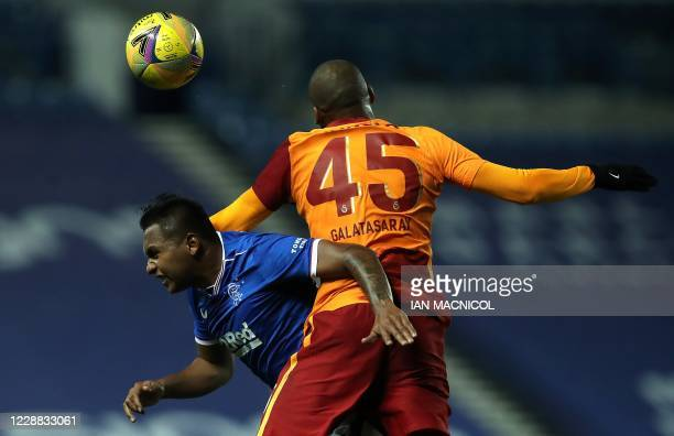 Rangers' Colombian striker Alfredo Morelos vies with Galatasaray's Brazilian defender Marcao Teixeira during the UEFA Europa League qualifying round...