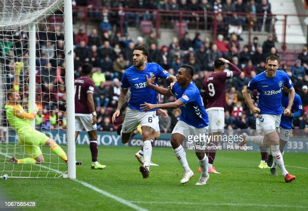 Rangers Connor Goldson celebrates with teammate Alfredo Morelos in front of the Hearts fans after scoring the first Rangers goal during the Ladbrokes...