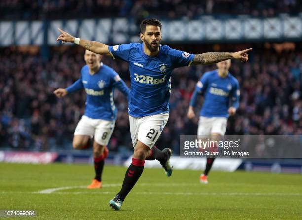 Rangers' Daniel Candeias celebrates scoring their first goal against Hamilton Academical during the Ladbrokes Scottish Premiership match at Ibrox...