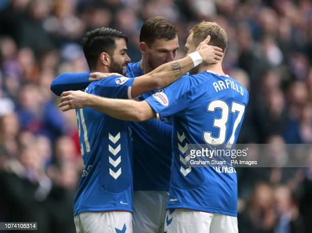Rangers' Daniel Candeias celebrates scoring their first goal against Hamilton Academical with Borna Barisic and Scott Arfield during the Ladbrokes...