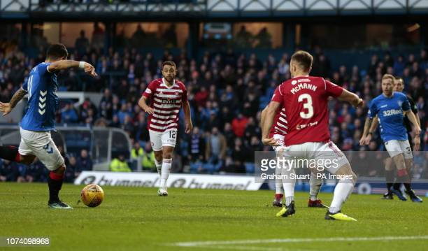 Rangers' Daniel Candeias scores their first goal against Hamilton Academical during the Ladbrokes Scottish Premiership match at Ibrox Stadium Glasgow