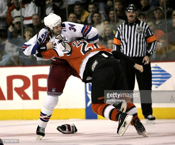 Rangers defenseman Jason Strudwick fights with Flyer right winger Turner Stevenson at the Wachovia Center in Philadelphia Pa on Saturday February 4th...