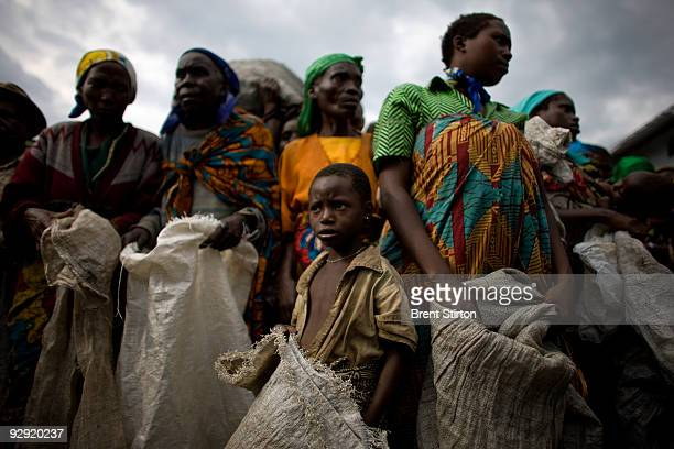 Rangers distribute illegal charcoal which they have seized to needy Internally Displaced People at Kibati IDP camp Kibati April 5 Democratic Republic...
