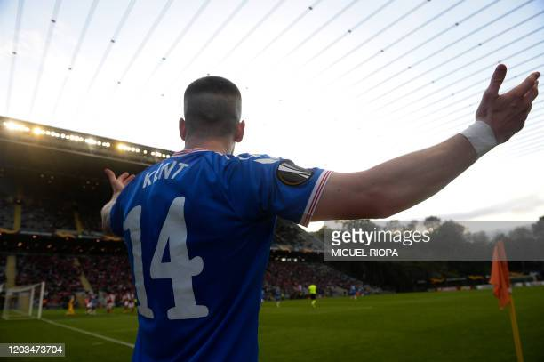 Rangers' English midfielder Ryan Kent gestures during the UEFA Europa League round of 32 second leg football match between SC Braga and Rangers at...