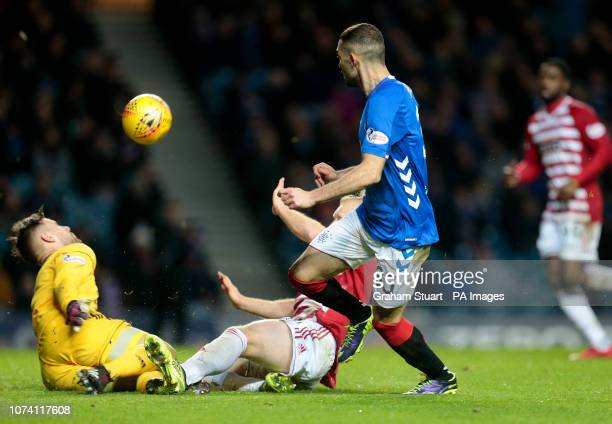 Rangers' Eros Grezda vies with Hamilton Academical's Gary Woods during the Ladbrokes Scottish Premiership match at Ibrox Stadium Glasgow