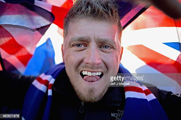 Rangers fan arrives at Hampden Park ahead of the League Cup semi final match between Celtic and Rangers on February 1 2105 in Glasgow Scotland One of...