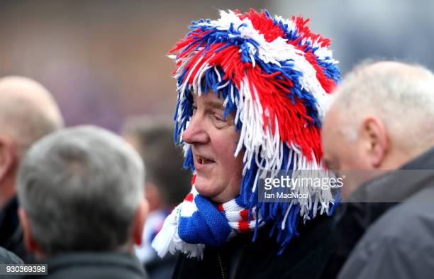 Rangers fan is seen prior to the Ladbrokes Scottish Premiership match between Rangers and Celtic at Ibrox Stadium on March 11 2018 in Glasgow Scotland