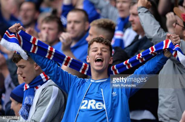 Rangers fan shows his support during the Ladbrokes Scottish Premiership match between Rangers and Celtic at Ibrox Stadium on September 23 2017 in...