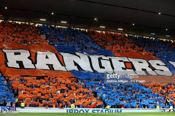 Rangers fans ahead of the Europa League Qualifying Round One First Leg match at Ibrox Glasgow
