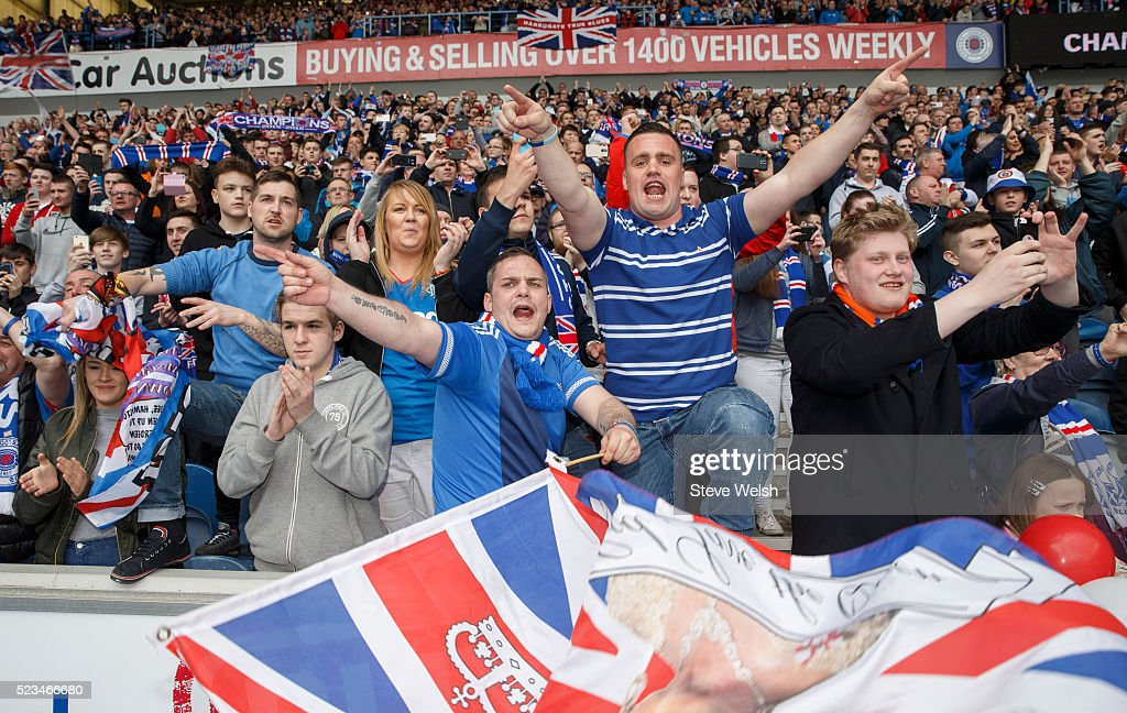 Rangers fans Celebrate after the Scottish Championship match between Rangers and Alloa Athletic Scottish at Ibrox Stadium April 23, 2016 in Glasgow, United Kingdom.