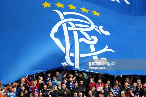 Rangers fans display a flag during the Ladbrokes Scottish Premiership match between Rangers and Celtic at Ibrox Stadium on April 29 2017 in Glasgow...