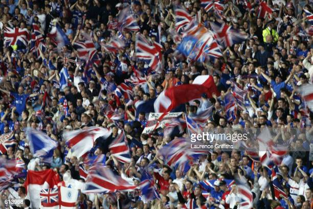 Rangers fans during the Tennents Scottish Cup Final between Celtic and Rangers played at Hampden Park in Glasgow Scotland on May 4 2002 Rangers won...