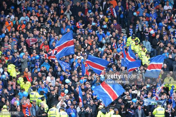Rangers fans enjoy the atmosphere ahead of the Scottish Cup Semi Final match between Rangers and Celtic at Hampden Park on April 15 2018 in Glasgow...
