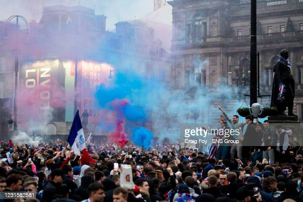 Rangers fans gather at George Square as they are crowned champions on March 07 in Glasgow, Scotland.