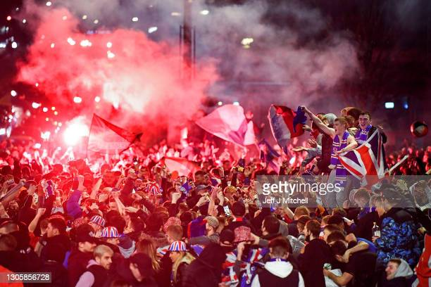 Rangers fans gather in George Square to celebrate the club winning the Scottish Premiership for the first time in 10 years, on March 07, 2021 in...