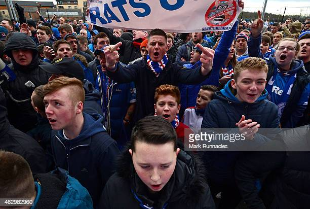 Rangers fans protest against the Rangers board outside Ibrox Stadium at the start of the William Hill Scottish Cup Fifth Round match between Rangers...