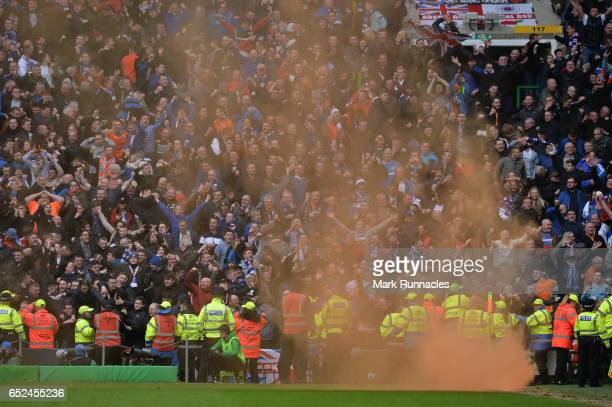 Rangers fans set off smoke flairs after their equalising goal during the Scottish Premiership match between Celtic FC and Rangers FC at Celtic Park...