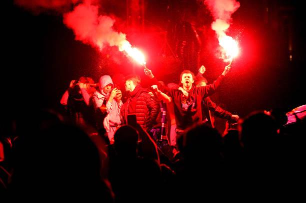 GBR: Rangers Fans Outside Ibrox