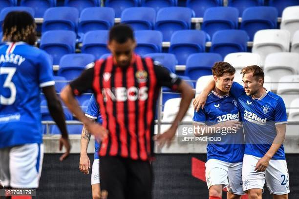 Rangers FC's Scottish midfielder Jamie Barjonas celebrates after scoring a goal during the friendly football tournament match between OGC Nice and...