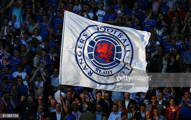Rangers flag is held during the UEFA Cup Final between Zenit St. Petersburg and Glasgow Rangers at the City of Manchester Stadium on May 14, 2008 in...