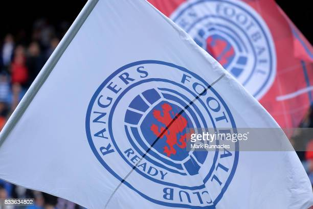 Rangers flags during the Ladbrokes Scottish Premiership match between Rangers and Hibernian at Ibrox Stadium on August 12 2017 in Glasgow Scotland