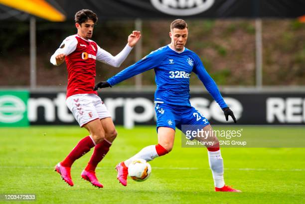Rangers Florian Kamberi and Francisco Trincao in action during the Europa League Round of 32 2nd Leg match between SC Braga and Rangers at Estadio...