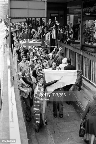 Rangers football fans in Birmingham to watch the Aston Villa v Rangers match which was later abandoned after a pitch invasion 9th October 1976