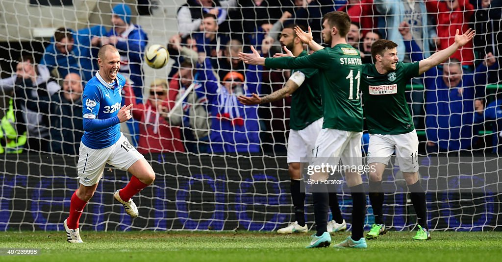 Rangers forward Kenny Miller celebrates after scoring the second goal during the Scottish Championship match between Hibernian and Rangers at Easter Road on March 22, 2015 in Edinburgh, Scotland.