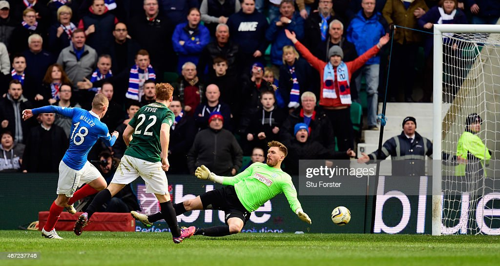 Rangers forward Kenny Miller (l) slots the ball past Hibs goalkeeper Mark Oxley for the second goal during the Scottish Championship match between Hibernian and Rangers at Easter Road on March 22, 2015 in Edinburgh, Scotland.